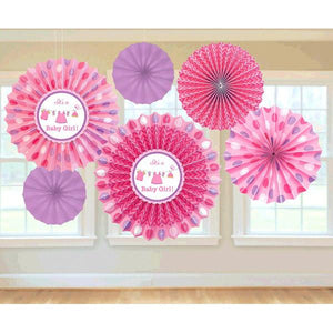 Shower with Love Girl Paper Fan Decorations (6 in a package)