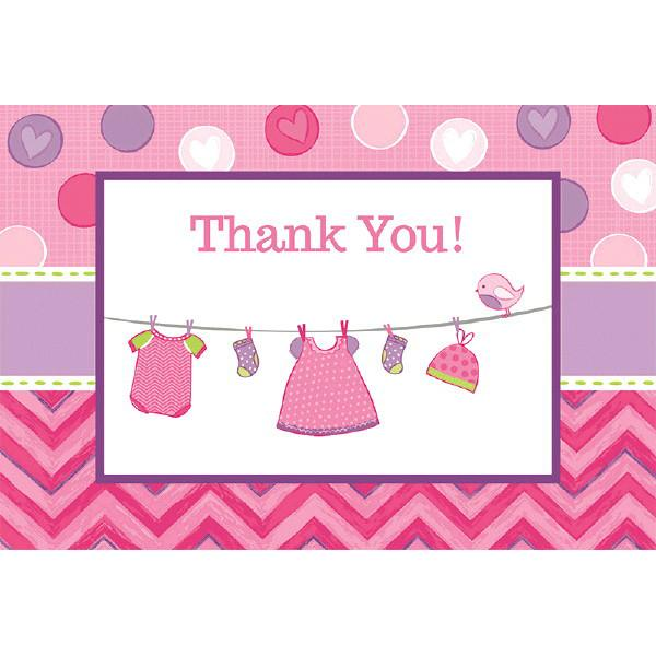 Shower with Love Girl Postcard Thank You Cards (16 in a package)