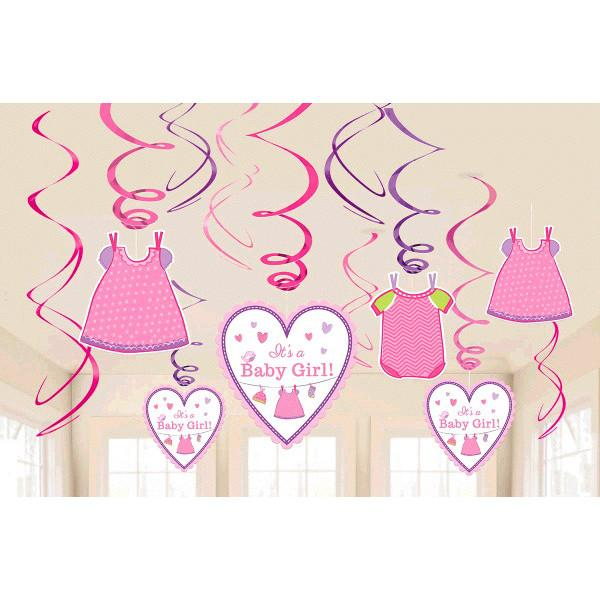 Shower with Love Girl Value Pack Foil Swirl Decorations (12 in a package)