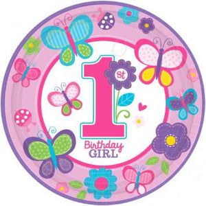 "Sweet Birthday Girl 10 1/2"" Round Plates (18 in a package)"