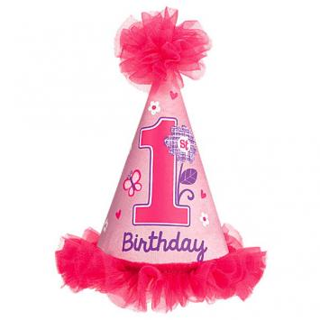 Sweet Birthday Girl Cone Hat w/Faux Fur Trim