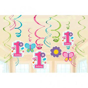 Sweet Birthday Girl Value Pack Foil Swirl Decorations (24 in a package)