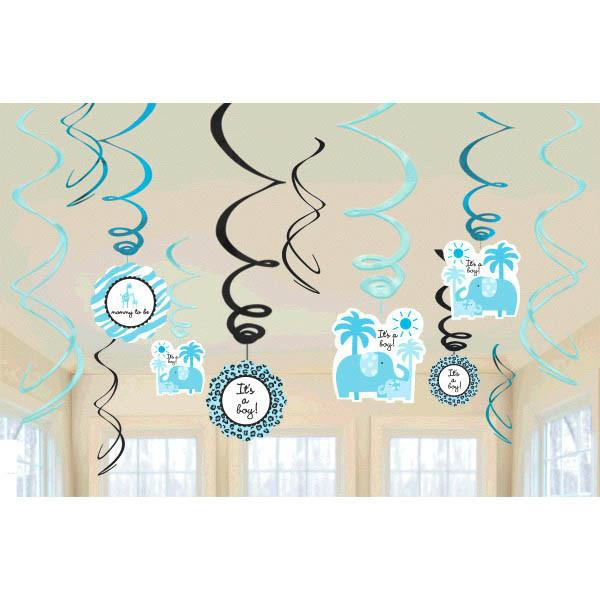 Sweet Safari Boy-Swirl Value Pack Decorations (12 in a package)