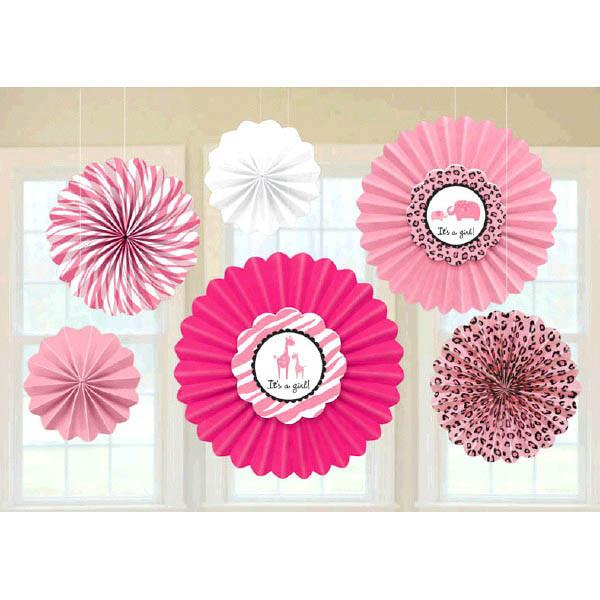 Sweet Safari Girl-Paper Fan Decoration (6 in a package)