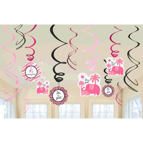 Sweet Safari Girl-Swirl Value Pack Decorations (12 in a package)