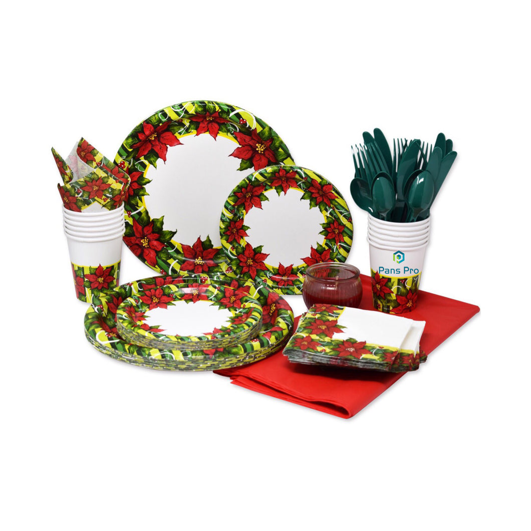 Holiday 110 Piece Dinnerware Set 24 Serving Party Set, (Christmas Theme) (Poinsettia)