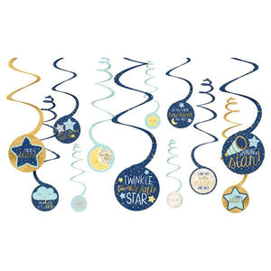 Twinkle Little Star Value Pack Spiral Decorations (12 in a package)