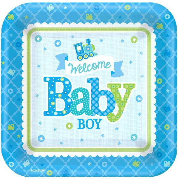 Welcome Little One Boy Square Plates, 7