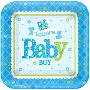 "Welcome Little One Boy Square Plates, 7"" (16 in a package)"