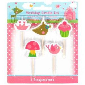 Woodland Princess Molded Birthday Toothpick Candles (10 in a package)