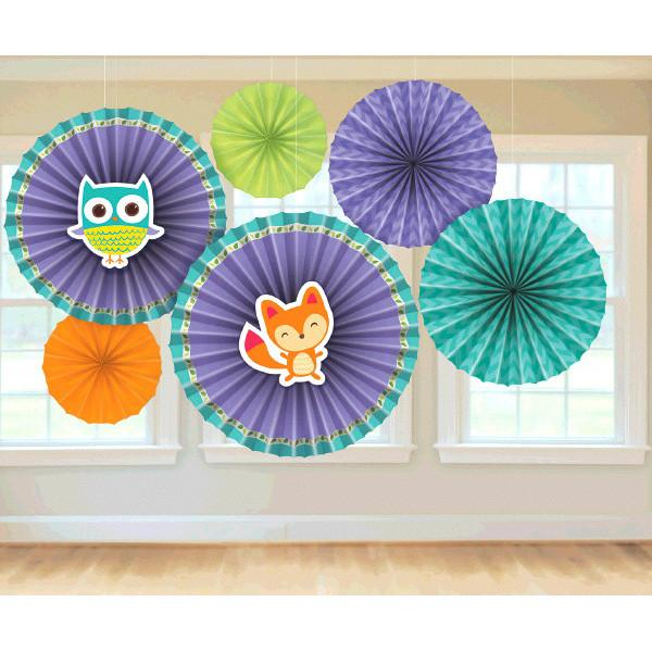 Woodland Welcome Paper Fan Decorations (6 in a package)
