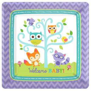 "Woodland Welcome Square Plates, 7"" (16 in a package)"