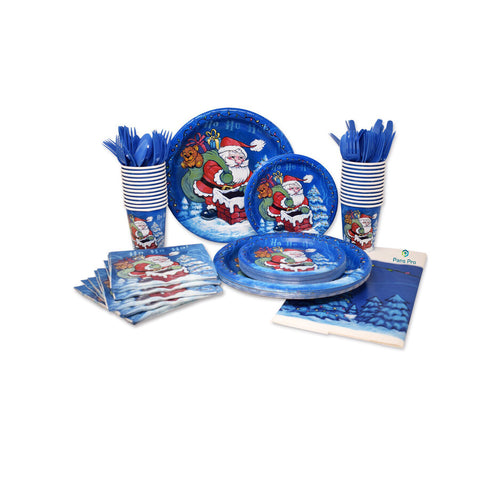 Holiday Dinnerware Set 24 Serving Party Set, 110 Piece (Christmas Theme) (Santa)