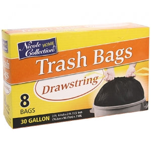 Trash Bags - 30 Gallon Drawstring Trash Bags 8 Count (Case Qty: 192)