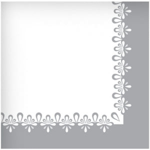Precious Silver Lunch Napkin 40 Count (Case Qty: 1440)