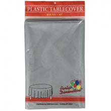"84"" Silver Round Plastic Tablecover 36 Count (Case Qty: 36)"