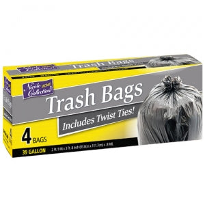 Trash Bags - 39 Gallon Trash Bags with Ties 4 Count (Case Qty: 192)