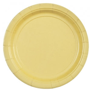 "7"" Yellow Round Paper Plate 24 Count (Case Qty: 864)"