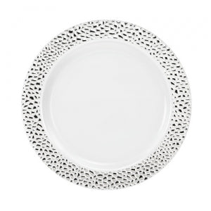 "Pebbled - Silver - 7.5"" Plate (Case Qty: 120)"