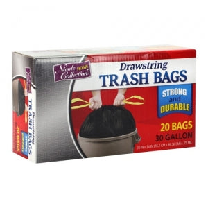 Trash Bags - 30 Gallon - Drawstring - Trash Bag - Black - 20 Count (Case Qty: 400)