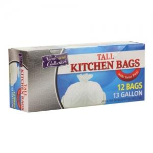 Trash Bags - 13 Gallon - Twist Tie - Tall Kitchen Bag - White (Case Qty: 120)