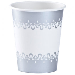 9oz Precious Silver Paper Hot/Cold Cup 24 Count (Case Qty: 864)