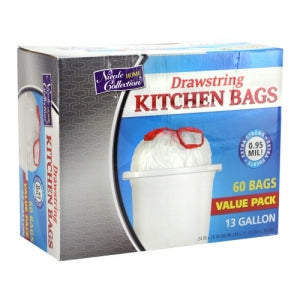 Trash Bags - 13 Gallon - Drawstring - Kitchen Bag - White - 60 Count (Case Qty: 600)