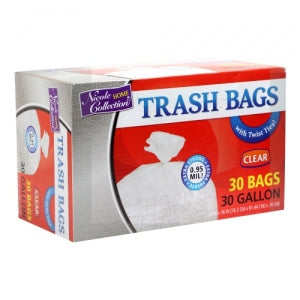 Trash Bags - 30 Gallon - Twist Tie - Trash Bag - Clear (Case Qty: 180)