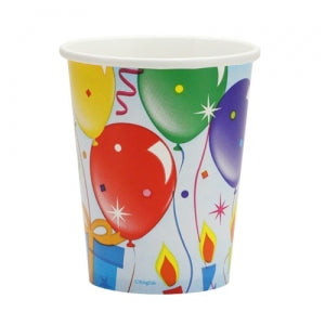 Birthday Balloons - 9 oz. Paper Cups - 12 Count (Case Qty: 432)