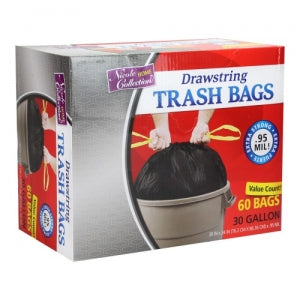 Trash Bags - 30 Gallon - Drawstring - Trash Bag - Black - 60 Count (Case Qty: 360)