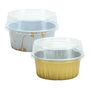 "Elements - 2.5"" Aluminum Pans with Lids - Round - Gold - 5 Count (Case Qty: 180)"