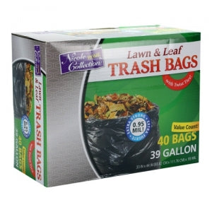 Trash Bags - 39 Gallon - Twist Tie - Lawn & Leaf Bag - Black - 40 Count (Case Qty: 240)