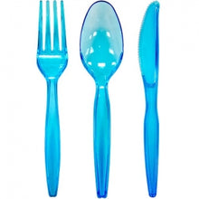 Neon Blue Plastic Combo Cutlery 24 Count (Case Qty: 864)