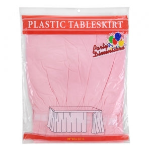 "29"" X 14'' Light Pink Plastic Tableskirt 36 Count (Case Qty: 36)"