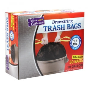 Trash Bags - 30 Gallon - Drawstring - Trash Bag - Black - 50 Count (Case Qty: 200)