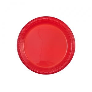 "7"" Red Plastic Plate - 50 Count (Case Qty: 600)"