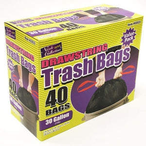 Trash Bags - 30 Gallon Drawstring Trash Bags 40 Count (Case Qty: 400)