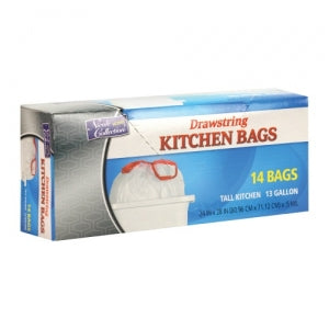 Trash Bags - 13 Gallon - Drawstring - Kitchen Bag - White - 14 Count (Case Qty: 336)