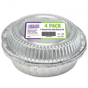 "Aluminum 7"" Round Pan with Dome Lid 4 Count (Case Qty: 192)"