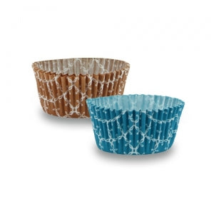 "Elements - 1.25"" Mini Baking Cups - Teal/Caramel - 100 count (Case Qty: 2400)"