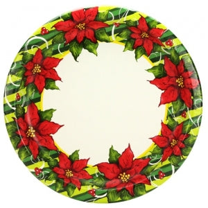 "Poinsettia Wreath - 10.25"" Plates - 18 Count (Case Qty: 648)"