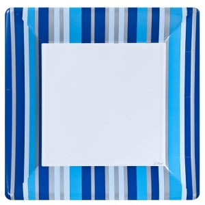 "Blue Stripe 10"" Square Dinner Plate 24 Ct. (Case Qty: 576)"