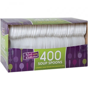 Boxed White Medium Weight Soupspoon 400 Count (Case Qty: 4000)