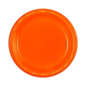 "9"" Plastic Plate - Orange - 50 Count (Case Qty: 600)"