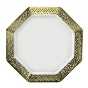 "Lacetagon - 9.25"" Pearl Plate - Gold Rim - 10 Count (Case Qty: 120)"