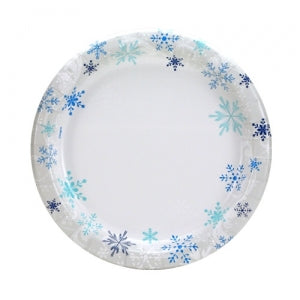 "Blue Snowflakes - 8.6"" Paper Plates - 48 Count (Case Qty: 576)"