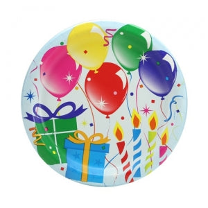 "Birthday Balloons - 9"" Paper Plates - 18 Count (Case Qty: 648)"