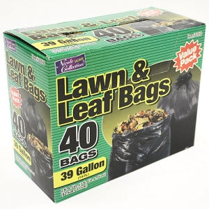 Trash Bags - 39 Gallon Lawn & Leaf Bags 40 Count (Case Qty: 240)