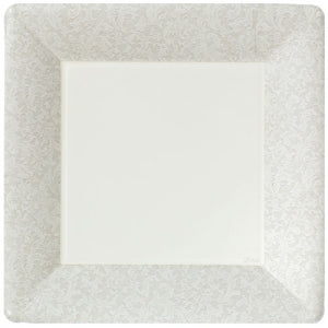 "Texture Ivory 10"" Square Dinner Paper Plates (Case Qty: 576)"
