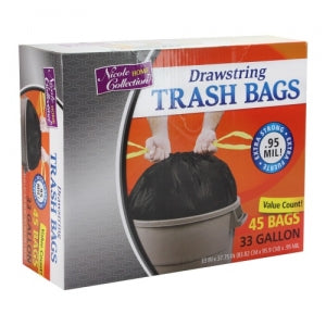 Trash Bags - 33 Gallon - Drawstring - Trash Bag - Black (Case Qty: 276)